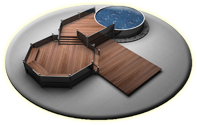 rendered image of wooden deck with above ground pool
